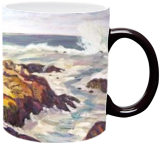 Maine Rocks and Waves, Paintings, Realism, Seascape, Oil, By Richard John Nowak