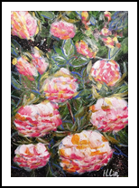 MEET ME IN SUMMER - PEONIES, Paintings, Abstract,Impressionism,Modernism, Botanical,Floral,Nature, Acrylic,Canvas, By HSIN LIN