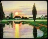 MOONRISE, Paintings, Realism, Landscape, Canvas,Oil, By Zenon Wladyslaw Rozycki