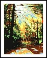 Morning Sunlight, Printmaking, Expressionism, Landscape, Ink, By Thomas J Norulak