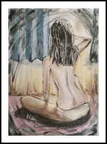 MORNING SUNLIGHT - Figure study - Framed Ready to hang, Drawings / Sketch, Modernism, Figurative,Nudes,People,Portrait, Acrylic,Ink,Mixed,Pastel,Pencil, By HSIN LIN