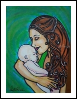 Mother and child, Drawings / Sketch, Primitive, People, Mixed, By Paula Valeria Fridman