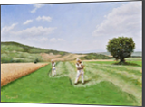 Mowing the Clover, Paintings, Fine Art, Impressionism, Realism, Landscape, Nature, Canvas, Oil, By Dejan Trajkovic