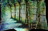 Mysterious orangery, Paintings, Fine Art, Architecture,Floral,Landscape, Acrylic,Canvas, By Marta Kuźniar