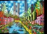 naive paintings folk artist painter urban landscape paintings raphael perez israeli artist, Architecture,Paintings, Primitive,Realism, Architecture,Cartoon,Fantasy,Figurative,Landscape, Acrylic,Canvas, By raphael perez