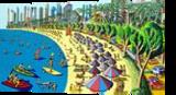 naive paintings folk artist painter urban landscape paintings raphael perez israeli artist, Architecture,Folk Art,Paintings, Fauvism,Primitive, Cartoon,Children,Figurative,Landscape, Acrylic,Canvas, By raphael perez