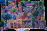 naive paintings folk artist painter urban landscape paintings raphael perez israeli artist, Architecture,Folk Art,Paintings, Fauvism,Fine Art,Primitive,Realism, Architecture,Children,Figurative,Landscape, Acrylic,Canvas, By raphael perez