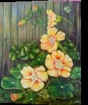 Nasturcja, Paintings, Realism, Floral, Acrylic, By Władysława Marcinkowska Fedasz