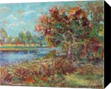 Near the Pond, Paintings, Impressionism, Landscape,Nature, Oil, By Liudvikas Daugirdas