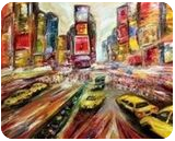 New York, Broadway, Paintings, Expressionism,Modernism, Architecture,Cityscape,Landscape, Canvas, By Helen - Bellart