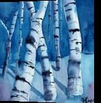 Night Birches, Paintings, Pop Art, Landscape, Watercolor, By james Allen lagasse