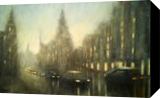 Nightfall in Budapest, Paintings, Impressionism, Cityscape, Oil,Wood, By Angela Suto