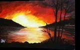 Nightfall On A River, Paintings, Expressionism,Fine Art,Impressionism,Realism, Environmental art,Landscape,Seascape, Acrylic,Canvas, By Madiha Javed Soundahi