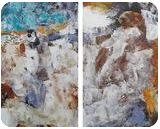 NOCTURNE set of two abstract paintings 2x 50x60cm, Paintings, Abstract,Expressionism,Modernism, Architecture,Celestial / Space,Composition,Nature, Acrylic, By Emilia Milcheva