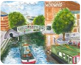 Nottingham Canal View from Carrington Bridge, Paintings, Realism, Cityscape, Watercolor, By Michelle Katrina Archer