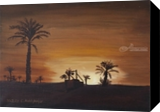 Oasis while sunset, Paintings, Fine Art, Landscape, Canvas,Oil,Painting, By Claudia Luethi alias Abdelghafar