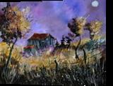 Old barn, Paintings, Impressionism, Landscape, Canvas, By Pol Henry Ledent