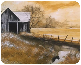 Old Barn in Autumn, Paintings, Impressionism, Landscape, Watercolor, By Stephen Keller