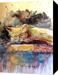 Old cat resting, Paintings, Impressionism, Animals, Watercolor, By Kovacs Anna Brigitta