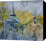 Old romanesque church in Belgium, Paintings, Impressionism, Landscape, Canvas, By Pol Henry Ledent