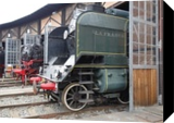Old steam trains in depot 08485, Photography, Fine Art,Photorealism,Realism, Documentary,Machnine Forms, Photography: Stretched Canvas Print, By Ksavera Art
