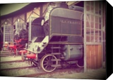 Old steam trains in depot 08485m2, Photography, Fine Art,Impressionism,Modernism, Cityscape,Conceptual,Daily Life,Documentary,Environmental art,Historical,Landscape, Photography: Photographic Print, By Ksavera Art