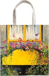 Old window, Paintings, Impressionism, Botanical,Cityscape,Floral, Canvas,Oil,Painting, By Olha   Vyacheslavovna Darchuk