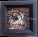 Owl Painting, Small Bird, Vintage Brown Black, Original Art, Paintings, Realism, Nature,Wildlife, Gouache, By Temenuzhka Pavlova