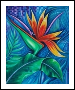 Paradise Bird flower, Paintings, Realism, Floral, Canvas,Oil, By Marcio Franca Moreira
