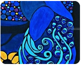 Paradise Peacock, Paintings, Abstract,Expressionism,Fine Art, Animals,Botanical, Acrylic,Canvas, By Rachel Olynuk