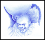 Pennywise the Dancing Clown, Drawings / Sketch, Fine Art,Pop Art,Realism, Fantasy, Pencil, By Oleg Kozelskiy