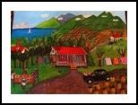 Pineapple Landscape, Folk Art, Primitive, Landscape, Acrylic, By Lydia Matias