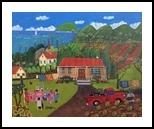 Pineapple Lane, Paintings, Primitive, Landscape, Acrylic, By Lydia Matias