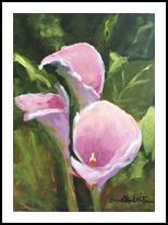 Pink Calla Lilies, Paintings, Impressionism, Botanical, Acrylic, By Susan Elizabeth Jones