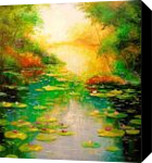 Pond, Paintings, Impressionism, Botanical,Floral,Land Art,Landscape,Nature, Canvas,Oil,Painting, By Olha   Vyacheslavovna Darchuk