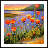 Poppies by the river, Paintings, Impressionism, Botanical,Floral,Landscape,Nature,Wildlife, Canvas,Oil,Painting, By Olha   Vyacheslavovna Darchuk