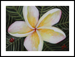 Primeria Flower With A Lady Bug, Paintings, Expressionism, Botanical, Acrylic, By Jane Adrianson