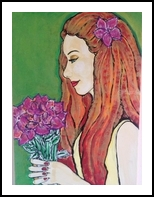 Profile with flowers, Decorative Arts, Primitive, People, Acrylic, By Paula Valeria Fridman