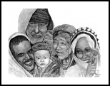 Proud Family, Digital Art / Computer Art,Drawings / Sketch,Illustration, Commercial Design,Fine Art,Realism, Children,Composition,Multicultural / Ethnic,People,Portrait,Window on the World, Pencil, By Marty Jones