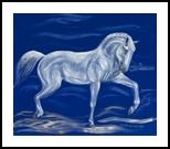 Proud white horse on blue velvet, Paintings, Fine Art, Animals, Oil,Painting, By Claudia Luethi alias Abdelghafar