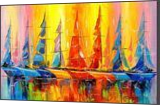 Rainbow boats, Paintings, Impressionism, Landscape,Nature, Canvas,Oil,Painting, By Olha   Vyacheslavovna Darchuk