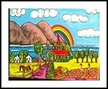 Rainbow Day, Paintings, Primitive, Landscape, Acrylic, By Lydia Matias