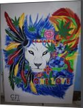 Rasta lion, Animation, Abstract, Animals, Canvas, By Cynthia Marie Viljoen