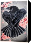 Raven in cherry blossom, Paintings, Realism, Animals, Oil, By Veronika Dika