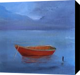 Red Boat on Blue Lake, Paintings, Impressionism, Seascape, Canvas, By Alicia Maury Fine Art