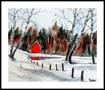 Red Cabin, Paintings, Fine Art, Landscape, Watercolor, By james Allen lagasse