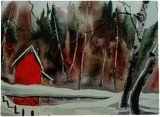 Red Cabin, Paintings, Fine Art, Landscape, Watercolor, By james Allen lagasse