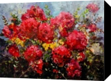 Red flowers, Paintings, Fine Art,Impressionism, Floral, Canvas, By Phaedon Constantin