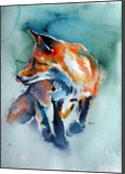 Red fox in field, Paintings, Impressionism, Animals, Watercolor, By Kovacs Anna Brigitta