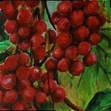 Red fruits, Paintings, Fine Art, Botanical,Nature, Acrylic,Canvas, By Marta Kuźniar